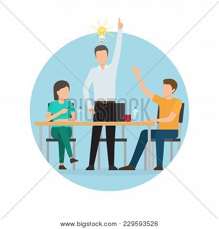 Start Up Idea Of Worker, Poster With People Sitting By Table With Bottles Of Water And Cup, Electric