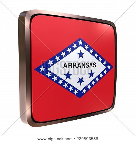 3d Rendering Of An Arkansas State Flag Icon With A Bright Frame. Isolated On White Background.
