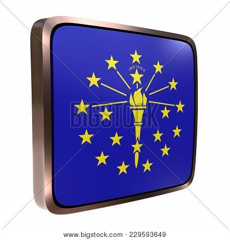 3d Rendering Of An Indiana State Flag Icon With A Bright Frame. Isolated On White Background.