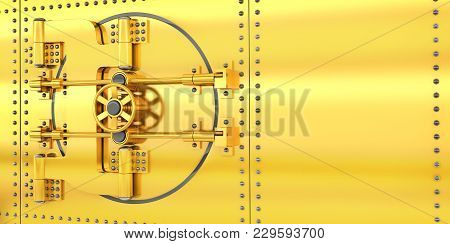 Bank Gold Door And Golden Wall. 3d Illustration