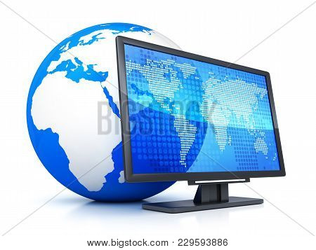 Computer Monitor And Abstract Earth Symbol. 3d Illustration