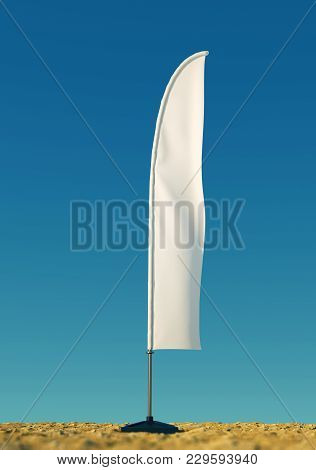 3d Render Mockup Blank Template Of White Empty Beach Flags Against A Clear Sky Background. Flags For