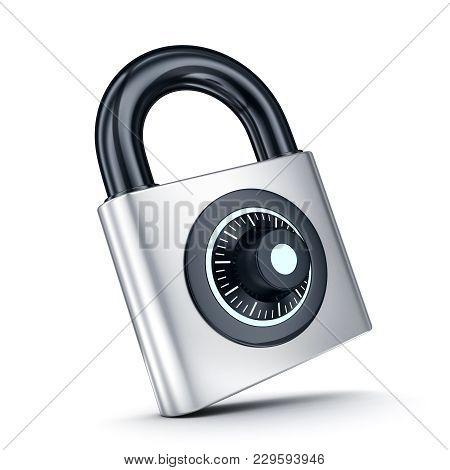 Lock Symbol Only On White Background. 3d Illustration