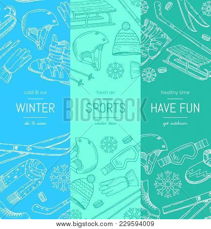 Vector Hand Drawn Winter Sports Equipment And Attributes Vertical Banner Templates. Illustration Of