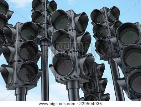 Many Traffic Lights Off On Sky Background. 3d Illustration