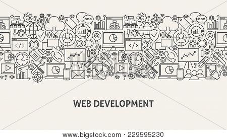 Web Development Banner Concept. Vector Illustration Of Line Website Design.