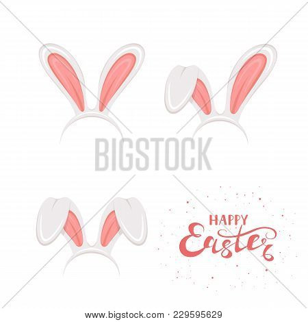 Set Of Easter Mask With Pink Rabbit Or Bunny Ears Isolated On White Background. Lettering Happy East