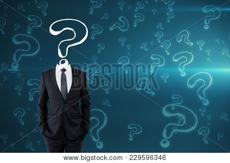 Question Mark Sketch Headed Businessman On Blue Background With Copy Space. Confusion And Inquiry Co