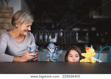A Small Girl And Her Grandmother With Tablet At Home, Playing. Family And Generations Concept.