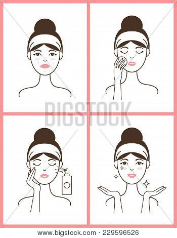 Young Woman With Acne Applies Fresh Tonic From Spray Bottle And Heals Her Skin Isolated Cartoon Flat
