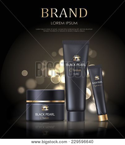 Brand Name Poster With Black Pearl Cream Night, Set Of Icons Representing Cosmetic Products For Skin