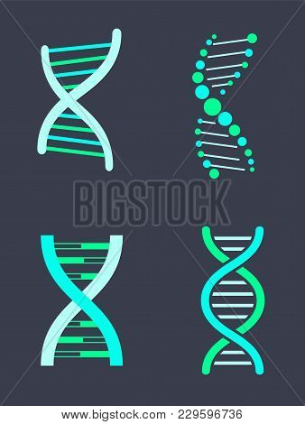 Dna Chain Variations Of Bright Turquoise Color Set. Human Biological Material That Carries Genetic I