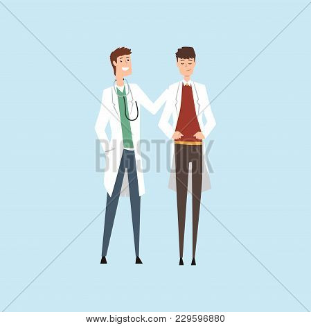 Two Smiling Male Doctors Characters, Hospital Workers Standing Together Vector Illustration Isolated