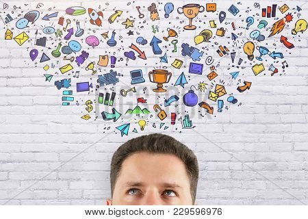Leadership And Think Concept. Abstract Image Of Businessman With Creative Business Sketch