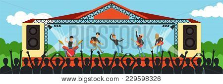 Boys Band Singing Song On The Stage Performing Live In Front Of Big Concert Audience Outdoor, Open A