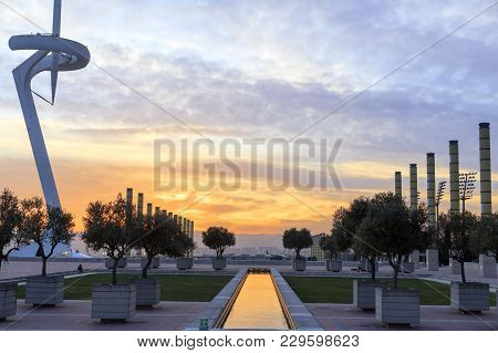 Barcelona,spain-march 8,2017: Sunset At Olympic Area, Parc Montjuic, Barcelona.