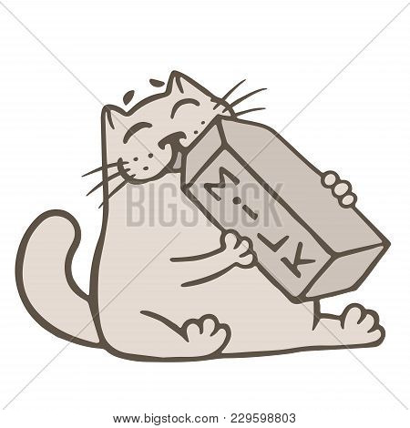 Cartoon Cat Drinks A Box Of Milk. Food And Drink From The Supermarket. Funny Cartoon Character. Vect