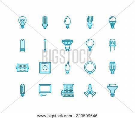 Light Bulbs Flat Line Icons. Led Lamps Types, Fluorescent, Filament, Halogen, Diode And Other Illumi