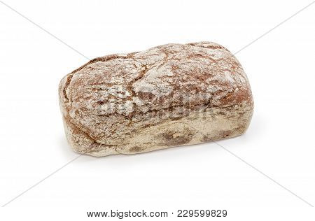 Whole Loaf Of The Dark Brown Multigrain Bread With Molasses On A White Background