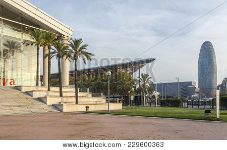 Barcelona,spain-october 7,2014: Modern Architecture View,theater,tower,torre Agbar,barcelona.