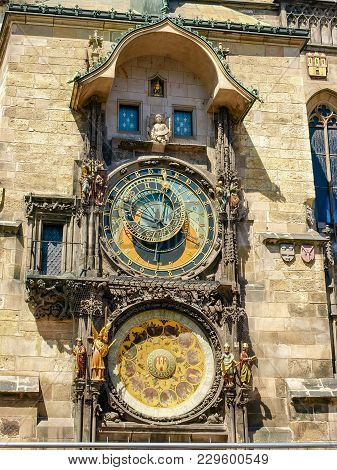 Fragment Of A South Facade Of The Tower Of Old Town Hall With Astronomical Clock, Prague