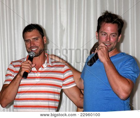 LOS ANGELES - AUG 27:  Joshua Morrow, Michael Muhney attending the Daniel Goddard Fan Event 2011 at the Universal Sheraton Hotel on August 27, 2011 in Los Angeles, CA