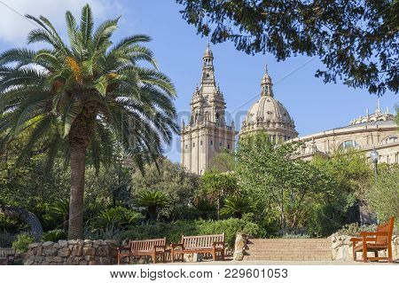Park,parc De Montjuic,historic Botanical Garden And Towers Of Museum,mnac,palace,palau Nacional,barc