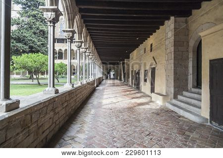 Barcelona,spain- June 22,2014: Cloister Of Monastery Santa Maria De Pedralbes, Monestir, Gothic Styl