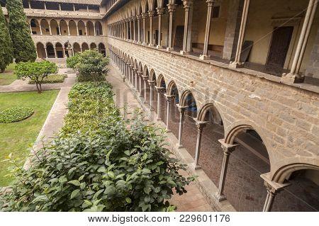 Barcelona,spain- June 22, 2014: Cloister Of Monastery Santa Maria De Pedralbes, Barcelona.