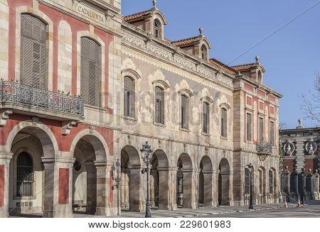 Barcelona,spain-march 16,2014: Palace Parlamient Of Catalonia,palau Del Parlament De Catalunya, Park
