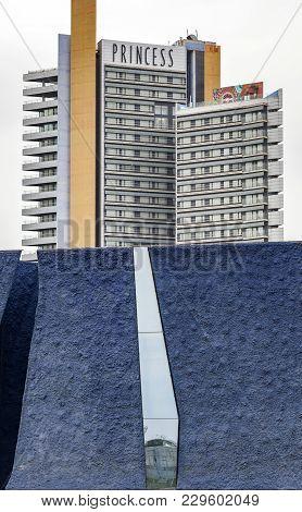 Barcelona,spain-february 2,2014: Contemporary Architecture In Diagonal Mar Quarter,forum Area,museum