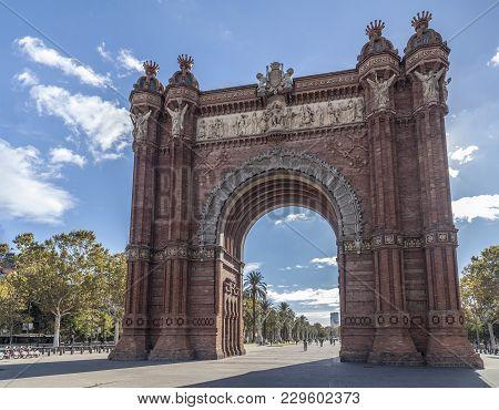 Barcelona,spain-march 18,2014: Monument, Triumpal Arch, Arc De Triomf, By Josep Vilaseca I Casanovas