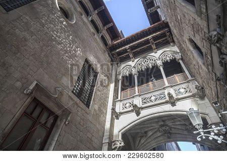 Neo-gothic Bridge In Gothic Quarter, Ciutat Vella District, Barcelona.