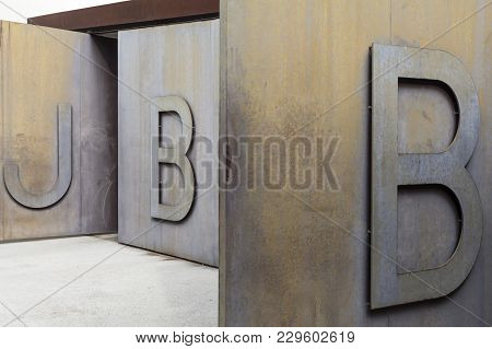 Barcelona,spain-september 8,2013: Park, Botanical Garden, Iron Door Entrance, Letters Park, Jardi Bo