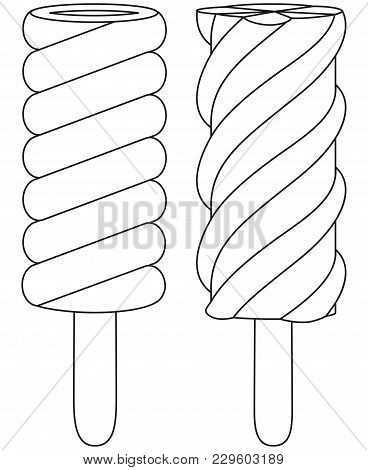 Fruit Ice Cream Popsicle Line Art Black And White Icon Set. Coloring Book Page For Adults And Kids.