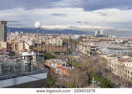 Barcelona,spain-march 6,2013: People In Terrace Bar Balcony Lookout, City View,miramar Gardens,park,