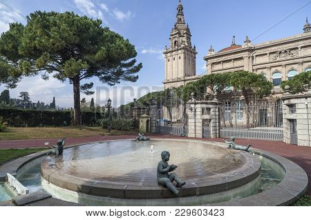 Barcelona,spain-february 2,2013: Gardens, Jardins Joan Maragall, Pond With Cherub Statues, At Backgr