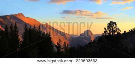 Half dome in Yosemite national park from boundary hill under evening sun