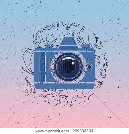 Photocamera Vector Icon With Magnolia Flowers On Gradient Background. Grunge Photographer Logo.