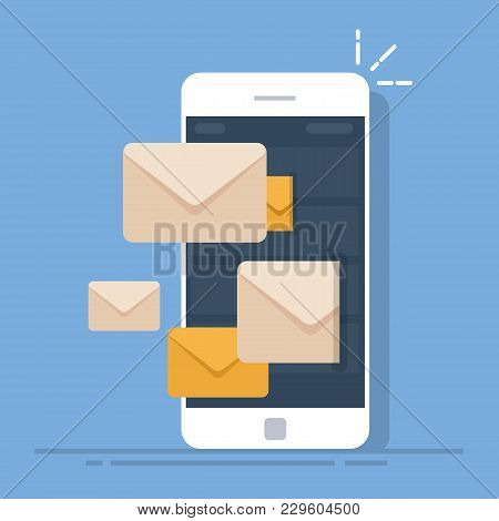 Dispatch Of Emails From A Mobile Phone. Mail Client On The Smartphone. Flat Vector Illustration Isol