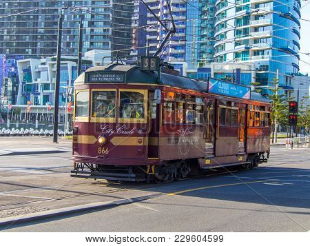 Australia, Melbourne - January 23, 2015: Melbourne City Circle Tram Is A Heritage Tram That Circles
