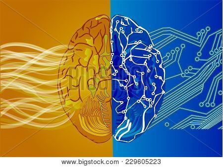 Artificial Intelligence Concept.  Robot And Human Brain