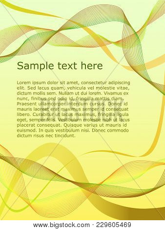 Vector Letterhead With Abstract Waves On Yellow Background Eps10