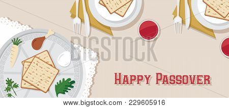 Traditional Passover Table For Passover Dinner With Passover Plate. Vector Illustration Template Ban