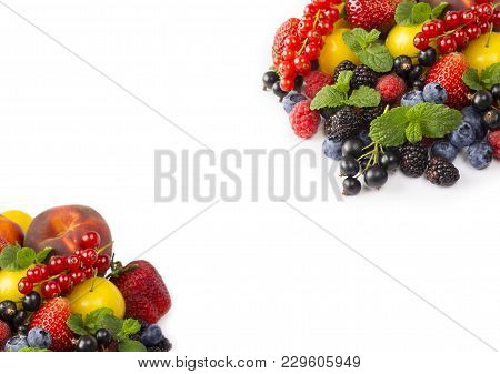 Fruits And Berries On White Background. Sweet And Juicy Fruits At Border Of Image With Copy Space Fo