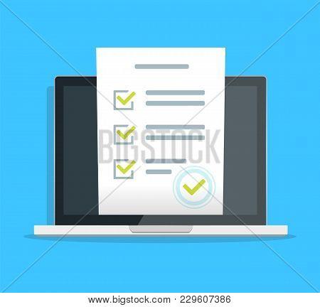 Online Form Survey On Pc Computer Vector Illustration, Flat Cartoon Monitor Display Showing Quiz Exa