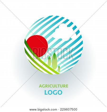 Agriculture Logo. Creative Organic Sign. Green Nature Concept With Field And Sun
