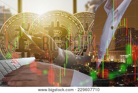 Bitcoin And Blockchain Digital Technology, Virtual Currency Blockchain Technology Concept.