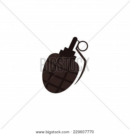 Flat Style Cartoon Egg-shaped Grenade, Bombshell Icon, Vector Illustration Isolated On White Backgro