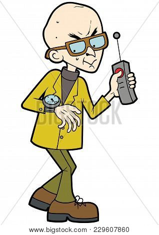 Illustration Cartoon Evil Professor, Looking At His Watch, Keeping His Finger On The Remote Controll